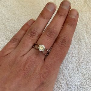Round cz open silver band engagement promise ring